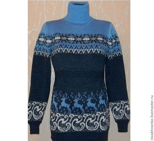 Для будущих и молодых мам ручной работы. Ярмарка Мастеров - ручная работа. Купить Платье-свитер вязаное для кормления Джинс. Handmade.
