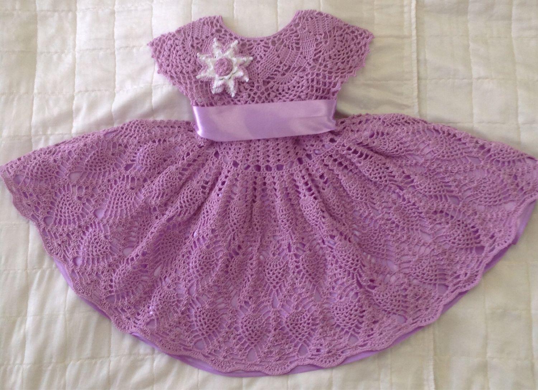 Вязаное крючком  Платье для девочки « Розовая сирень»