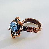Украшения ручной работы. Ярмарка Мастеров - ручная работа кольцо с синей бусиной. Handmade.