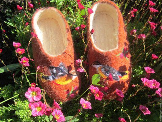 Обувь ручной работы. Ярмарка Мастеров - ручная работа. Купить Тапочки домашние. Handmade. Комбинированный, обувь