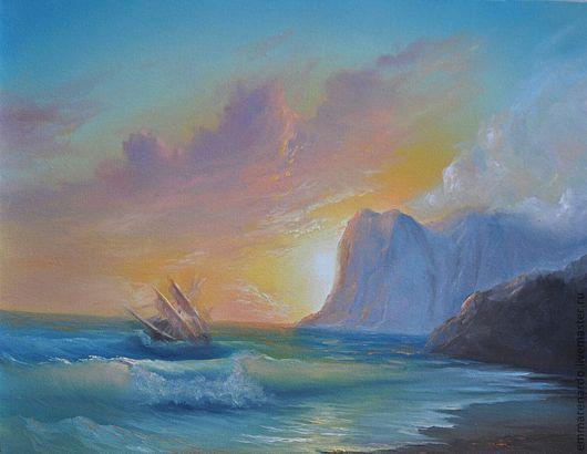 Пейзаж ручной работы. Ярмарка Мастеров - ручная работа. Купить На рассвете. Handmade. Море, морской пейзаж, рассвет, волна