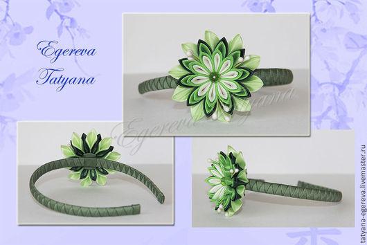 Диадемы, обручи ручной работы. Ярмарка Мастеров - ручная работа. Купить Ободок для волос с зеленым цветком. Handmade. Зеленый