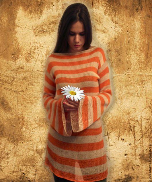 """Кофты и свитера ручной работы. Ярмарка Мастеров - ручная работа. Купить """"Апельсиновый юнга"""". Handmade. Оранжевый, Вязание крючком, хлопок"""