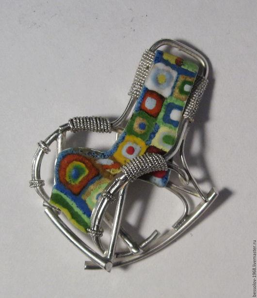 """Броши ручной работы. Ярмарка Мастеров - ручная работа. Купить Брошь """"Кресло-качалка"""". Handmade. Комбинированный, серебро, горячая эмаль"""