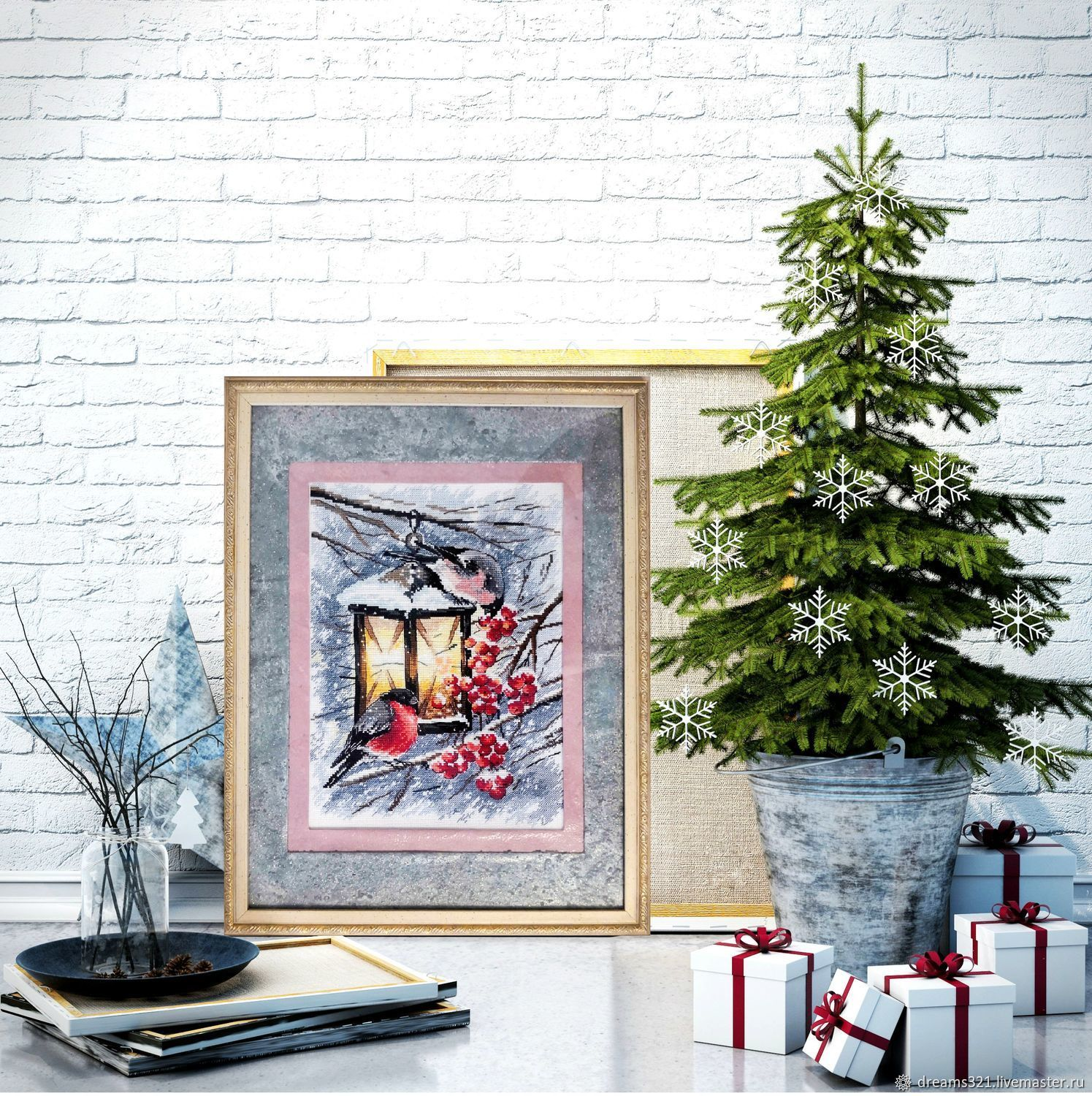 Embroidered picture 'Christmas light' from the company Aries, Pictures, Suhodol,  Фото №1