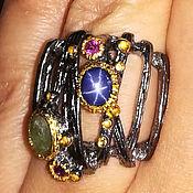 Кольцо с натуральным звездчатым сапфиром. Серебро 925 пробы