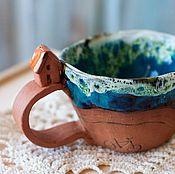 Посуда ручной работы. Ярмарка Мастеров - ручная работа Кружка Дом, дорога и велосипед, керамика. Handmade.