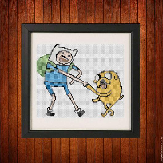 """Вышивка ручной работы. Ярмарка Мастеров - ручная работа. Купить Схема для вышивки крестом """"Финн и Джейк"""" Adventure Time. Handmade."""