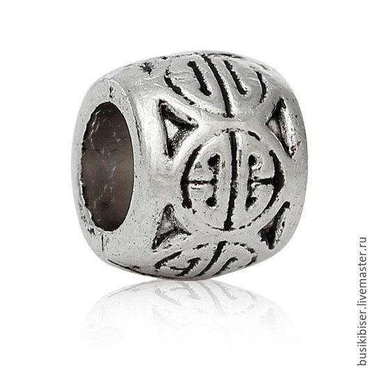 Бусины металлические `Цилиндр` с узором - античное серебро 6мм x 5мм