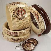 Украшения handmade. Livemaster - original item Bracelets jewelry set-wood East decoupage jewelry. Handmade.