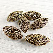 Материалы для творчества handmade. Livemaster - original item Beads openwork 18х10 mm antique gold (Ref. 2628). Handmade.