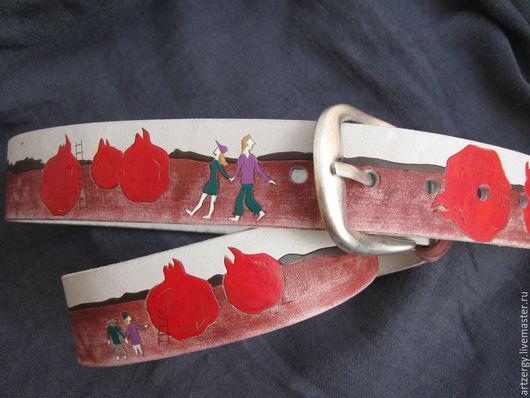 Пояса, ремни ручной работы. Ярмарка Мастеров - ручная работа. Купить В СТРАНЕ ГРАНАТОВ ремень кожаный. Handmade. Гранат