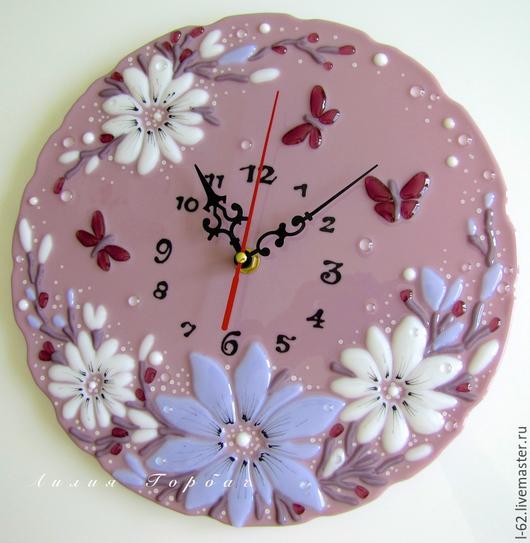 Часы для дома ручной работы. Ярмарка Мастеров - ручная работа. Купить часы из стекла, фьюзинг   Сиреневый туман. Handmade. Сиреневый