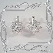 Украшения handmade. Livemaster - original item Earrings GLITTER with CUBIC Zirconia (925 sterling silver). Handmade.