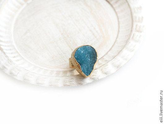Кольца ручной работы. Ярмарка Мастеров - ручная работа. Купить Кольцо с друзой агата голубого цвета. Handmade. Подарок, латунь