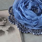 """Украшения ручной работы. Ярмарка Мастеров - ручная работа Брошь цветок роза из ткани """"Серо-голубая роза"""". Handmade."""
