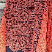 Аксессуары handmade. Livemaster - original item Stole Coral reef openwork knitted linen. Handmade.