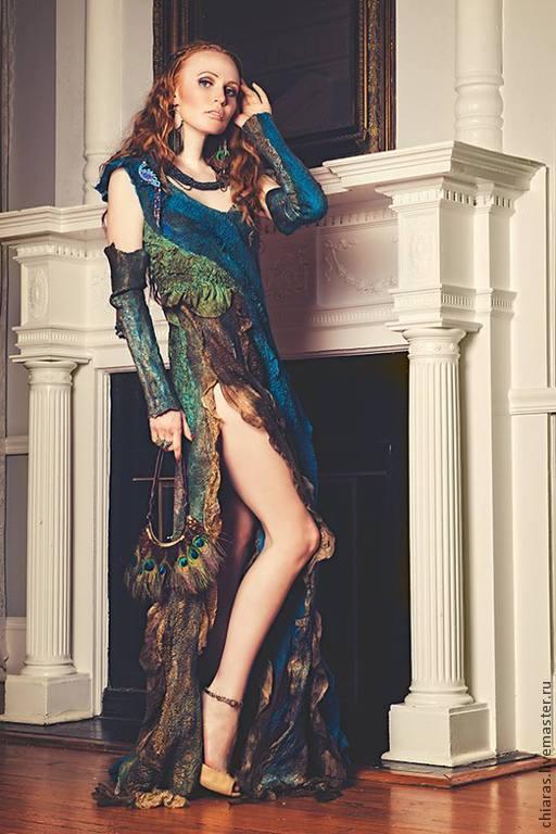 """Платья ручной работы. Ярмарка Мастеров - ручная работа. Купить Платье ручной работы """"перо Павлина"""". Handmade. Тёмно-бирюзовый"""