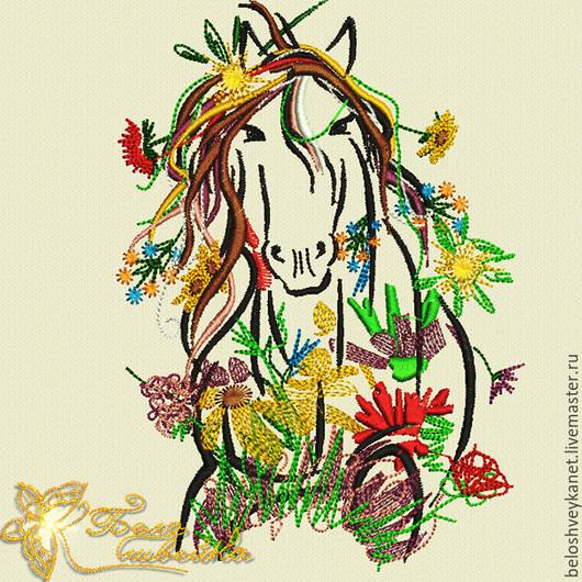 Вышивка ручной работы. Ярмарка Мастеров - ручная работа. Купить Тетя Лошадь - дизайн для вышивальной машины (NB0090). Handmade.