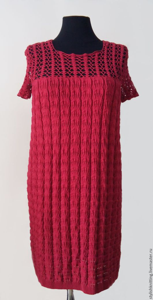 Платья ручной работы. Ярмарка Мастеров - ручная работа. Купить Платье вязаное хлопковое. Handmade. Бордовый, платье на заказ, большой размер