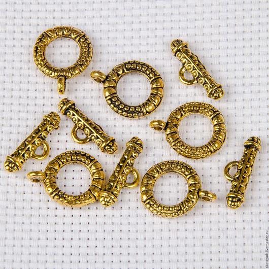 """Для украшений ручной работы. Ярмарка Мастеров - ручная работа. Купить Замочек тоггл """"Крупное кольцо"""" (золото) арт.303023. Handmade."""