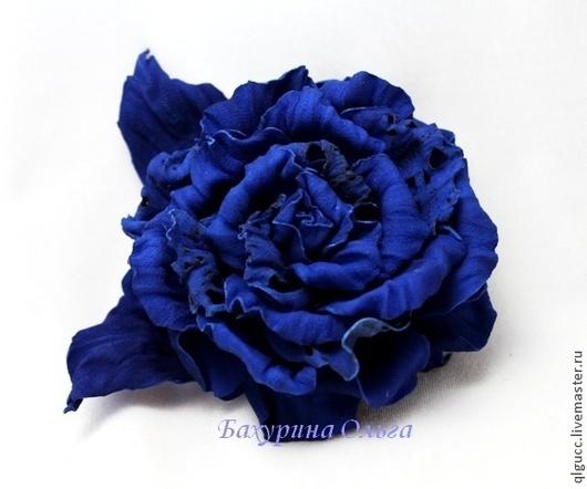 Броши ручной работы. Ярмарка Мастеров - ручная работа. Купить Роза из замши Глория. Handmade. Синий, брошь цветок