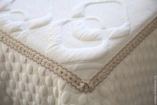 Текстиль, ковры ручной работы. Ярмарка Мастеров - ручная работа. Купить Покрывало на кровать белое молочное стрейч-жаккард. Handmade.