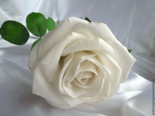 """Цветы ручной работы. Ярмарка Мастеров - ручная работа. Купить Белая роза. """" Снежная королева"""". Handmade. Белый, подарок"""
