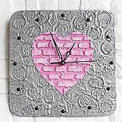 Для дома и интерьера handmade. Livemaster - original item Wall Clock Pink Heart Silent Clock. Handmade.