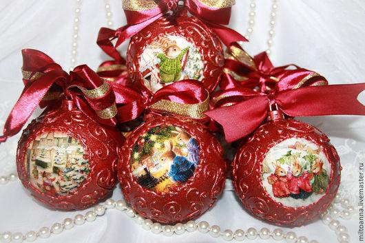 """Новый год 2017 ручной работы. Ярмарка Мастеров - ручная работа. Купить Елочные шары """"Рождественские забавы"""" 6 штук. Handmade."""