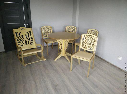 """Мебель ручной работы. Ярмарка Мастеров - ручная работа. Купить Комплект мебели """"Кружево"""". Handmade. Бежевый, КРЕСЛО-КАЧАЛКА, резная"""
