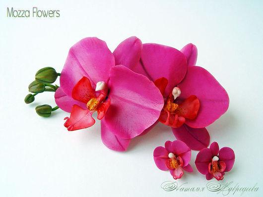 """Комплект с орхидеями """"Лилу"""". Орхидеи из полимерной глины."""