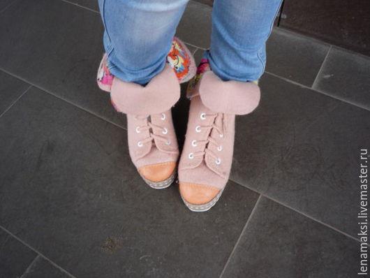 """Обувь ручной работы. Ярмарка Мастеров - ручная работа. Купить Кеды валяные """"Ароматы лета"""". Handmade. Бежевый, Овечья шерсть"""