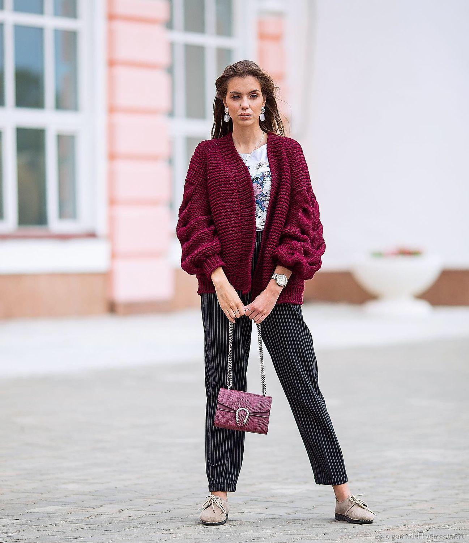 cardigans: Women's voluminous knitted cardigan oversize color Bordeaux, Cardigans, Yoshkar-Ola,  Фото №1