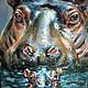 """Животные ручной работы. Ярмарка Мастеров - ручная работа. Купить Картина пастелью """"Защищенность"""" Резерв. Handmade. Животные, гиппопотам, разноцветный"""