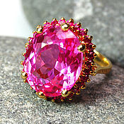 """Украшения ручной работы. Ярмарка Мастеров - ручная работа """"Barbara"""" кольцо серебро 925 с розовым топазом и рубинами. Handmade."""