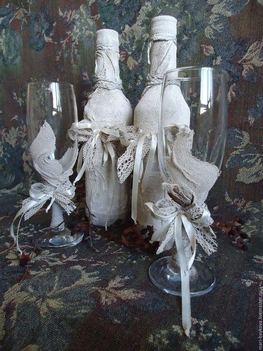 Свадебные аксессуары ручной работы. Ярмарка Мастеров - ручная работа. Купить Свадебные бутылки и бокалы. Handmade. Бежевый, бутылки свадебные