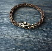 Украшения handmade. Livemaster - original item Leather bracelet with Wolf. Handmade.