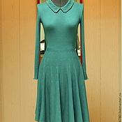 Одежда ручной работы. Ярмарка Мастеров - ручная работа Платье     бирюзовое вязаное с воротничком. Handmade.