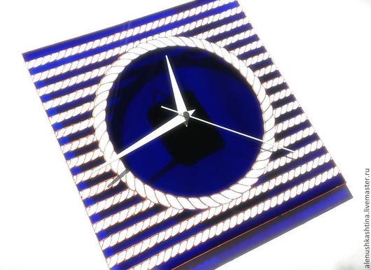 """Часы для дома ручной работы. Ярмарка Мастеров - ручная работа. Купить Часы настенные """"Морские канаты"""". Handmade. Тёмно-синий"""