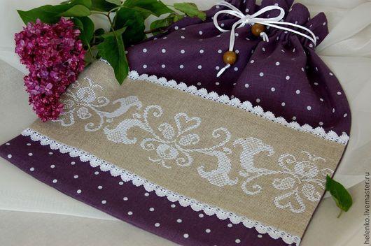 """Белье ручной работы. Ярмарка Мастеров - ручная работа. Купить Льняной мешочек для белья """"Очарование"""". Handmade. Тёмно-фиолетовый"""