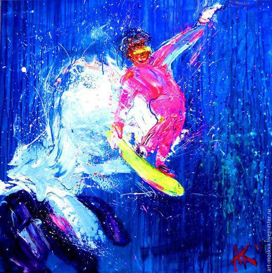 Люди, ручной работы. Ярмарка Мастеров - ручная работа. Купить Фристайлер, 100х100 см. Handmade. Синий, спорт, спортивный стиль