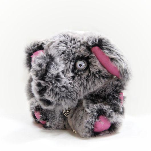 Куклы и игрушки ручной работы. Ярмарка Мастеров - ручная работа. Купить Мягкая игрушка из натурального меха слон серый. Handmade.