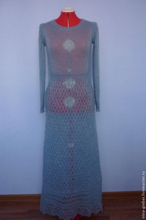 """Платья ручной работы. Ярмарка Мастеров - ручная работа. Купить Вязаное платье """"Генриетта"""". Handmade. Серый, вязаное платье"""