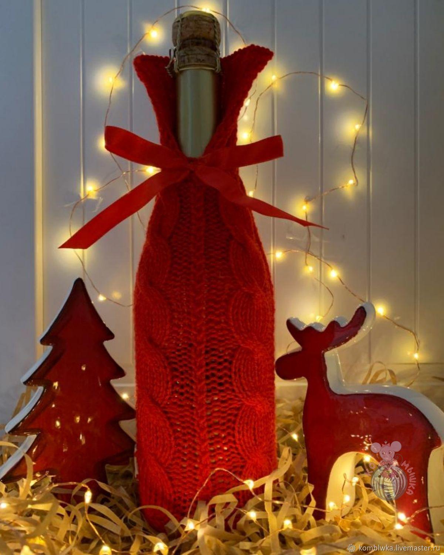 Новогодний вязаный чехол на бутылку, Чехлы для посуды, Химки,  Фото №1