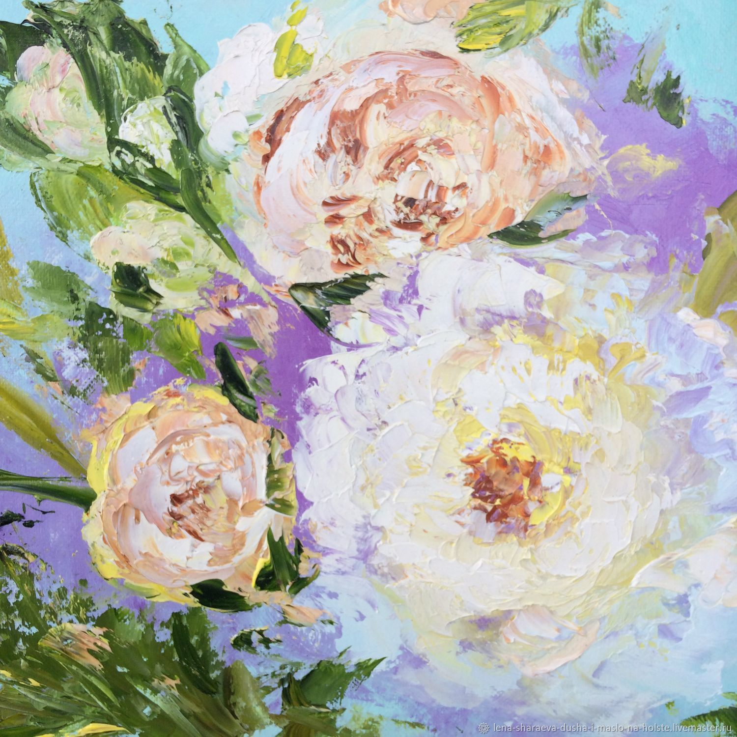 Oil painting with delicate peonies colored on canvas, Pictures, Kaliningrad,  Фото №1