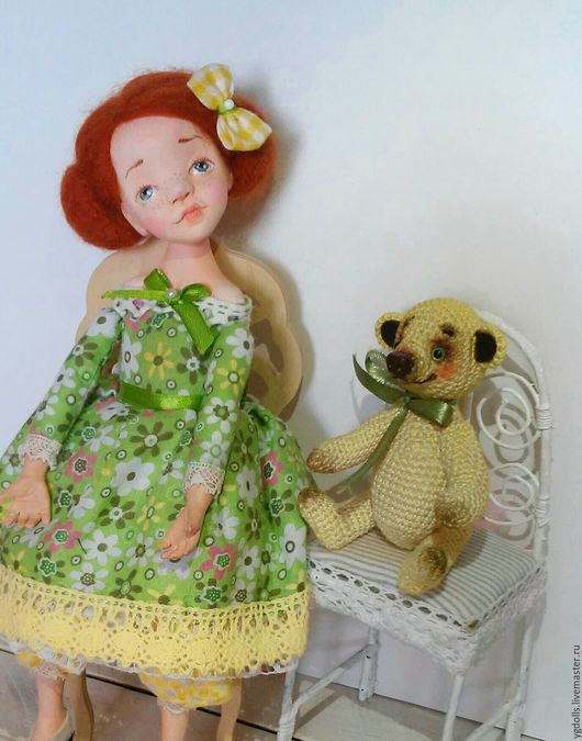 Коллекционные куклы ручной работы. Ярмарка Мастеров - ручная работа. Купить Кукла Катюша. Handmade. Ярко-зелёный, акриловые краски