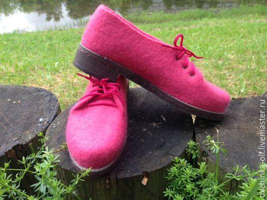 Обувь ручной работы. Ярмарка Мастеров - ручная работа. Купить Туфли валяные. Handmade. Розовый, подошва для обуви, обувь, подарок