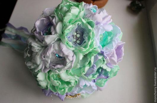 Свадебные цветы ручной работы. Ярмарка Мастеров - ручная работа. Купить Свадебный брошь-букет из атласа. Мятный букет. Handmade.