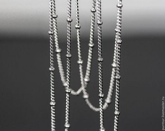 Для украшений ручной работы. Ярмарка Мастеров - ручная работа. Купить 1167_0,5_Цепочка серебро, Цепочка с шариками, Цепи для бижутерии. Handmade.
